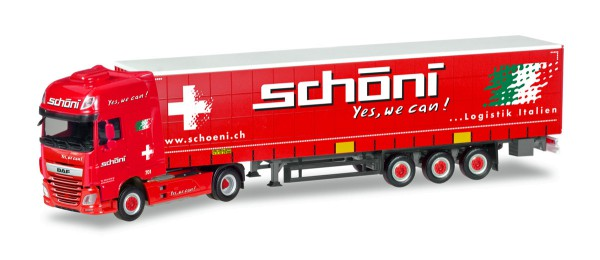 "Herpa 309301 - DAF XF SSC Gardinenplanen-Sattelzug ""Schöni"" (CH) - 1:87"