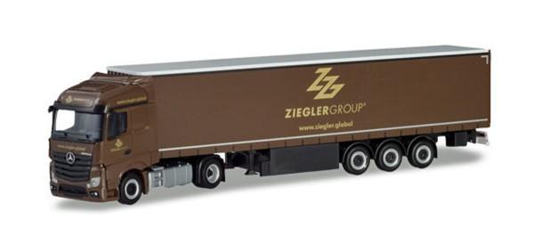 "Herpa 310260 - Mercedes-Benz Actros Streamspace Gardinenplanen-Sattelzug ""Ziegler Group"" (Bayern / P"