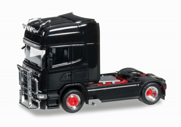 Herpa 303774-002 - Scania R 2013 TL Zugmaschine mit Rammschutz und Lampenbügel, schwarz - 1:87