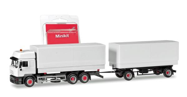 Herpa 013505 - Herpa MiniKit: Steyr F 2000 Wechselpritschen-Hängerzug, weiß - 1:87