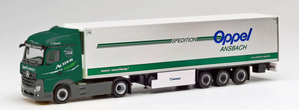 """Herpa 311663 - Mercedes-Benz Actros Streamspace 2.5 `18 Koffer-Sattelzug """"Oppel Ansbach"""" - 1:87"""