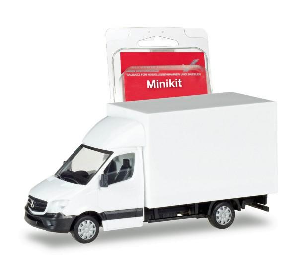 Herpa 013437 - Herpa MiniKit: Mercedes-Benz Sprinter mit Kofferaufbau, weiß - 1:87