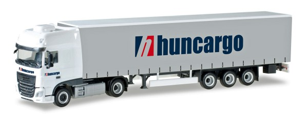 "Herpa 307154 - DAF XF SSC Euro 6 mit Gardinenplanen-Sattelzug ""Huncargo"" (HU) - 1:87"