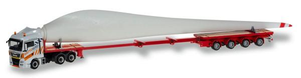"""Herpa 310062 - MAN TGX XLX Teletrailer-Sattelzug mit Windradflügel """"Gatto Wind"""" - 1:87"""