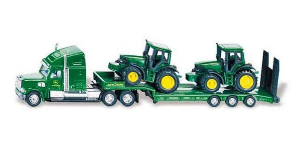 SIKU Farmer 1837 - Tieflader mit John Deere Traktoren 1:87