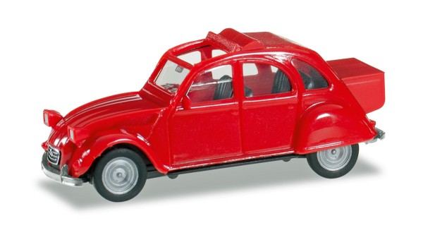 Herpa 027632-002 - Citroen 2 CV mit Queue, rot - 1:87
