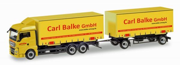 """Herpa 310222 - MAN TGX XLX Wechselgardinenplanen-Hängerzug """"Carl Balke GmbH"""" (Niedersachsen / Holzmi"""