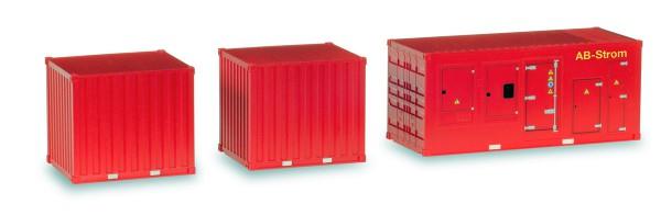 """Herpa 076807 - Zubehör 1 x Stromaggregat und 2 x 10 ft. Container """"Feuerwehr"""" - 1:87"""