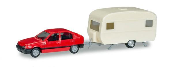 Herpa 013420 - Herpa MiniKit: Opel Kadett E GLS mit Wohnanhänger - 1:87