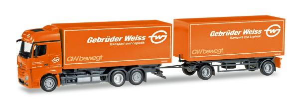 """Herpa 308083 - Mercedes-Benz Actros Bigspace Wechselkoffer-Hängerzug """"Gebrüder Weiss"""" (A) - 1:87"""