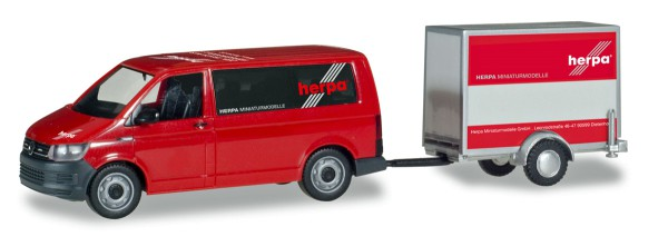 """Herpa 094290 - VW T6 Bus mit Kofferanhänger """"Herpa"""" Anhänger von VK-Modelle - 1:87"""
