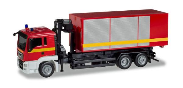 """Herpa 093705 - MAN TGS L Wechssellader-LKW mit Kran """"Feuerwehr"""" - 1:87"""