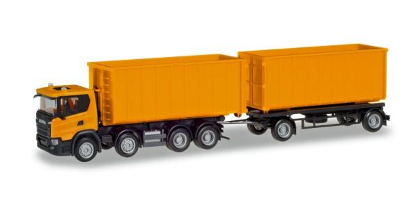 Herpa 309950 - Scania CG 17 8x4 Abrollmulden-Hängerzug, kommunalorange - 1:87