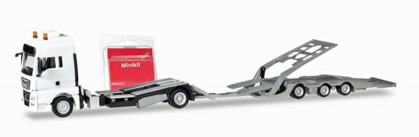 Herpa 013529 - Herpa MiniKit: MAN TGX XXL LKW-Transporter-Hängerzug, weiß - 1:87
