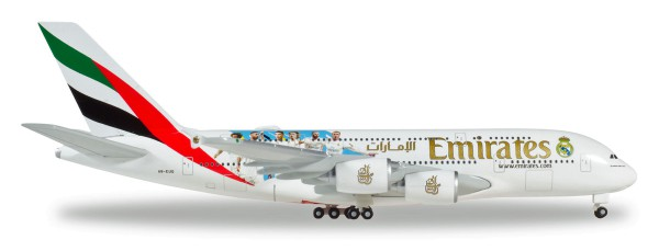 """Herpa Wings 531931 - Emirates Airbus A380 """"Real Madrid (2018)"""" - A6-EUG - 1:500"""
