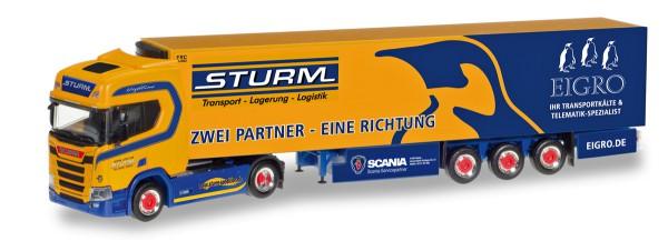 "Herpa 309325 - Scania CR Hochdach Kühlkoffer-Sattelzug ""Sturm / Eigro"" - 1:87"