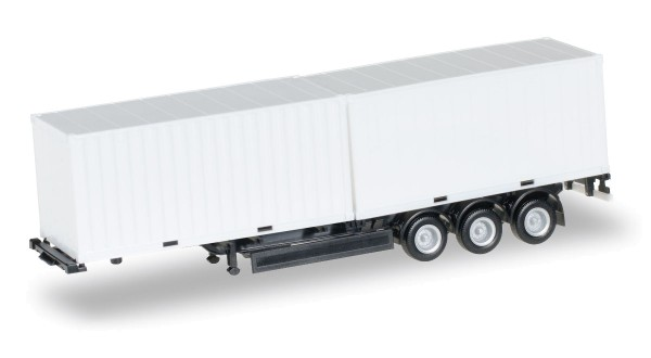 Herpa 076494-002 - 40 ft. Containerchassis Krone mit 2 x 20 ft. Container, Chassis schwarz - 1:87