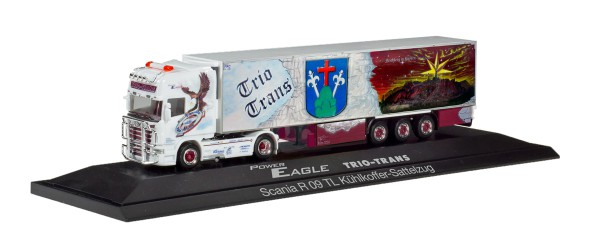 "Herpa 121965 - Scania R TL Kühlkoffer-Sattelzug ""Trio-Trans Power Eagle"" (Bayern / Friedberg) - 1:87"
