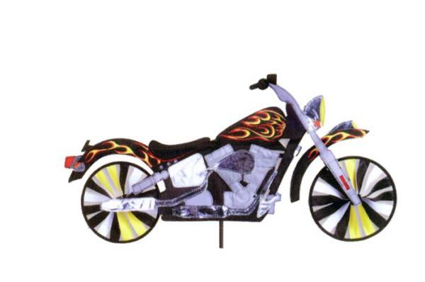 Premier Kites - Windspiel Accent Motorrad mit Flammen - Ø 23 cm / 80 x 40 cm