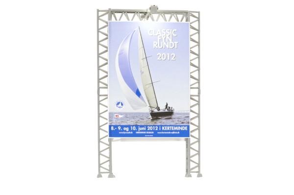 Kibri 49809 - Reklamewand mit 2 Flutlichtstrahlern, LED weiß - H0