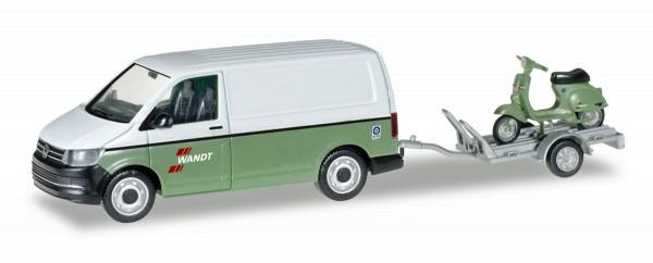 """Herpa 092760 - VW T6 Kasten mit Anhänger und Vespa """"Spedition Wandt"""" - 1:87"""