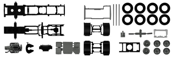 Herpa 084796 - Fahrgestell für Scania CS/CR 6x2 mit Chassisverkleidung Inhalt: 2 Stück - 1:87