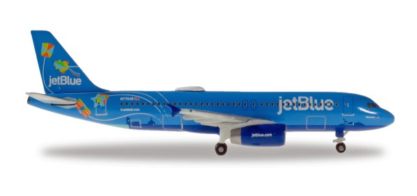 "Herpa Wings 533096 - JetBlue Airbus A320 - N779JB ""Bluericua"" - 1:500"