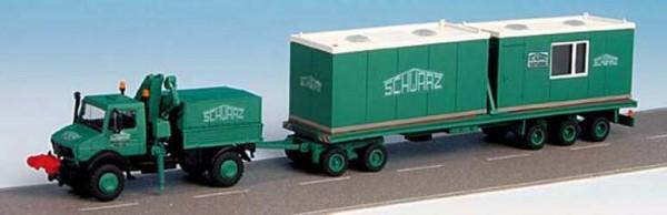Kibri 15215 - UNIMOG mit Spezialhänger und Wohncontainer SchwarzBau - H0