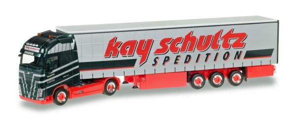 """Herpa 306980 - Volvo FH Gl. XL Gardinenplanen-Sattelzug """"Kay Schultz"""" - 1:87"""