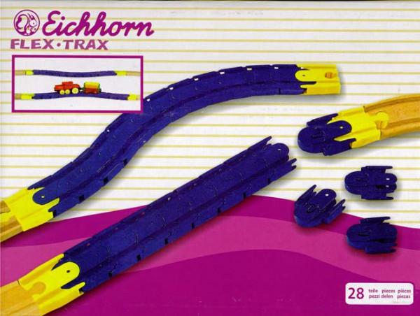 Eichhorn 1004 - Flex Trax - flexibles Schienensystem für Holzeisenbahnen - 28-teilig