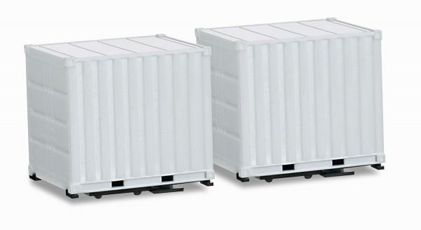 Herpa 053594 - Zubehör Aufbau 10 ft. Container mit Tragrahmen für Schausteller-Zugmaschine (2 Stück)