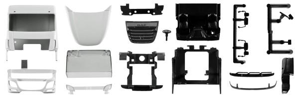 Herpa 084581 - Fahrerhaus DAF XF SC Euro 6 mit Windleitblech und Dachspoiler Inhalt: 2 Stück - 1:87