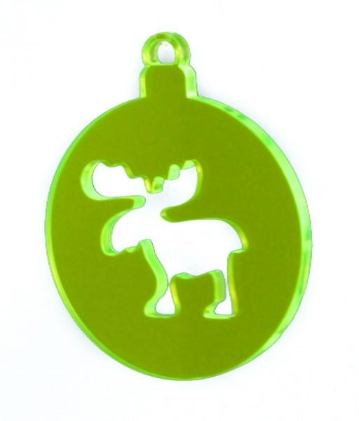 Lichtzauber Kugel Elch, 6 cm, grün (Elliot 1021651)