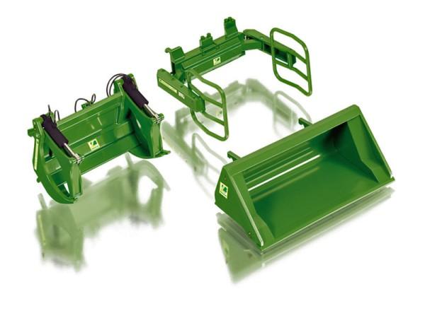Wiking 077381 - Frontlader Werkzeuge Set A John Deere grün - 1:32