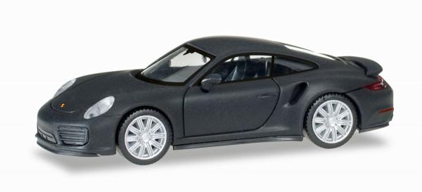 Herpa 038713 - Porsche 911 Turbo, mattschwarz mit Chromfelgen - 1:87