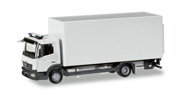 Herpa 013239 - Herpa MiniKit: Mercedes-Benz Atego Koffer-LKW mit Ladebordwand, weiß - 1:87