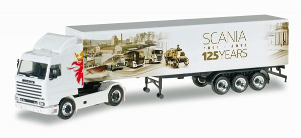 "Herpa 306447 - Scania 143 SL Koffer-Sattelzug ""125 Jahre Scania"" - 1:87"