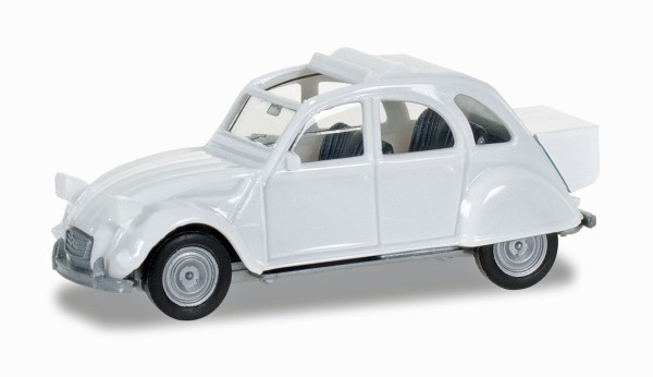 Herpa 027632-003 - Citroen 2 CV mit Queue, perlweiß - 1:87