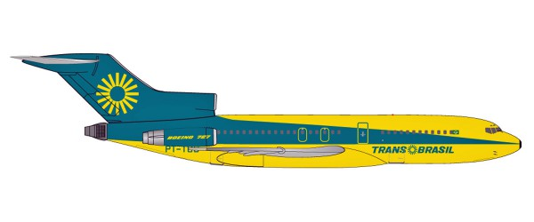 "Herpa Wings 531078 - TransBrasil Boeing 727-100 ""Energia Colorida"" / ""Colorful Energy"" livery - Ener"