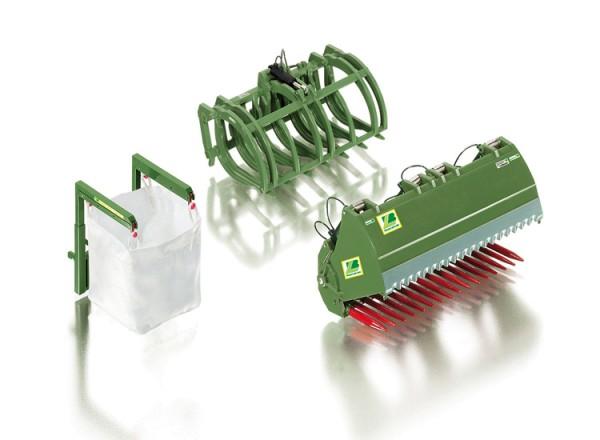 Wiking 077384 - Frontlader Werkzeuge Set B Bressel & Lade grün - 1:32