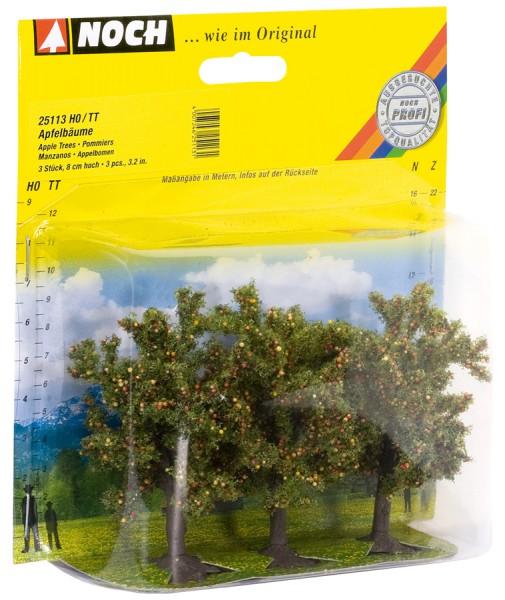 NOCH 25113 - Classic Apfelbäume, 3 Stück, 8 cm hoch - H0 / TT