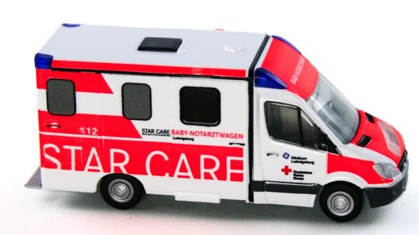 Rietze 61739 - Strobel RTW Sprinter DRK Klinikum Ludwigsburg Baby-NAW - 1:87