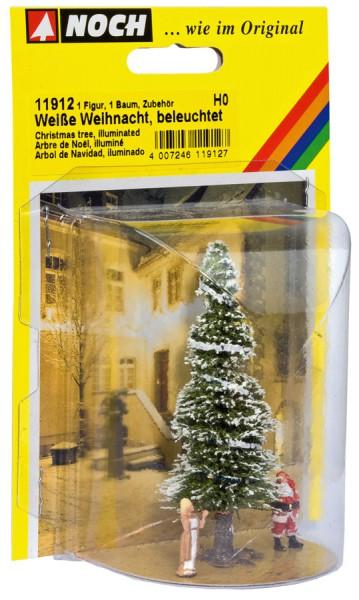 NOCH 11912 - Weiße Weihnacht, Christbaum beleuchtet - H0
