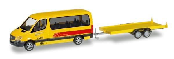 """Herpa 091855 - Mercedes-Benz Sprinter Bus mit PKW-Transportanhänger """"ADAC Rückholdienst"""" - 1:87"""