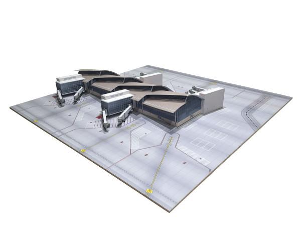 Herpa Wings 534734 - Frankfurt Airport Terminal 1 Hexagon - Kartonbausatz inklusive Bodenplatte - 1: